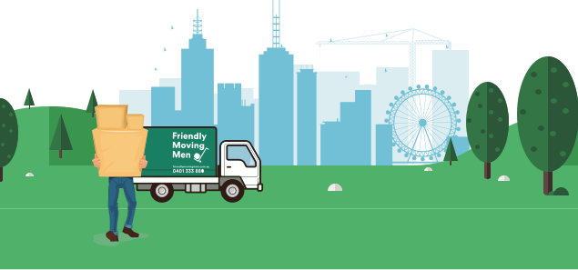 Illustration of a man holding packed boxes in a garden in front of a Friendly Moving Men van with the Melbourne skyline in the background.