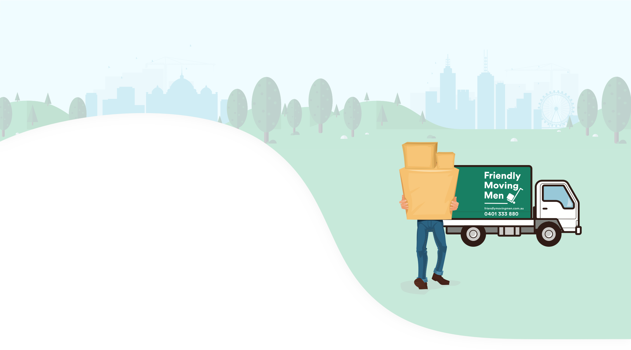 Illustration of a man holding packed boxes in front of a Friendly Moving Men van with the Melbourne skyline in the background.